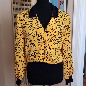 VTG MyWay Yellow & Blk Abstract 80s Funky Blouse